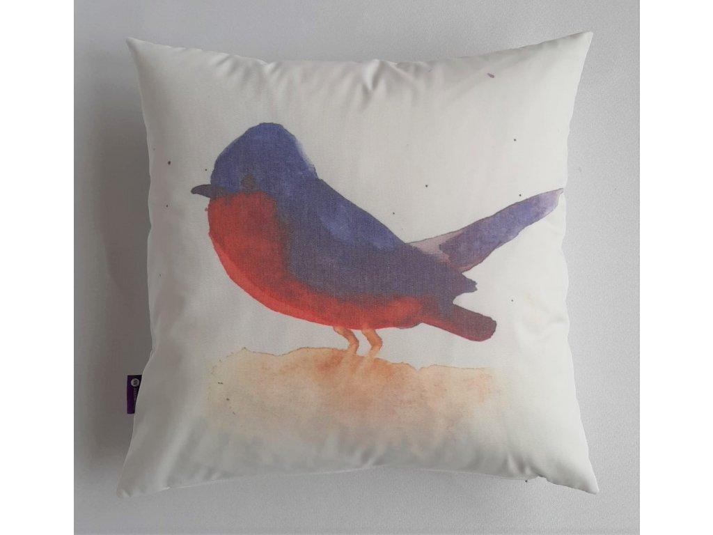 Polštář a povlak s ptáčkem - Červenka
