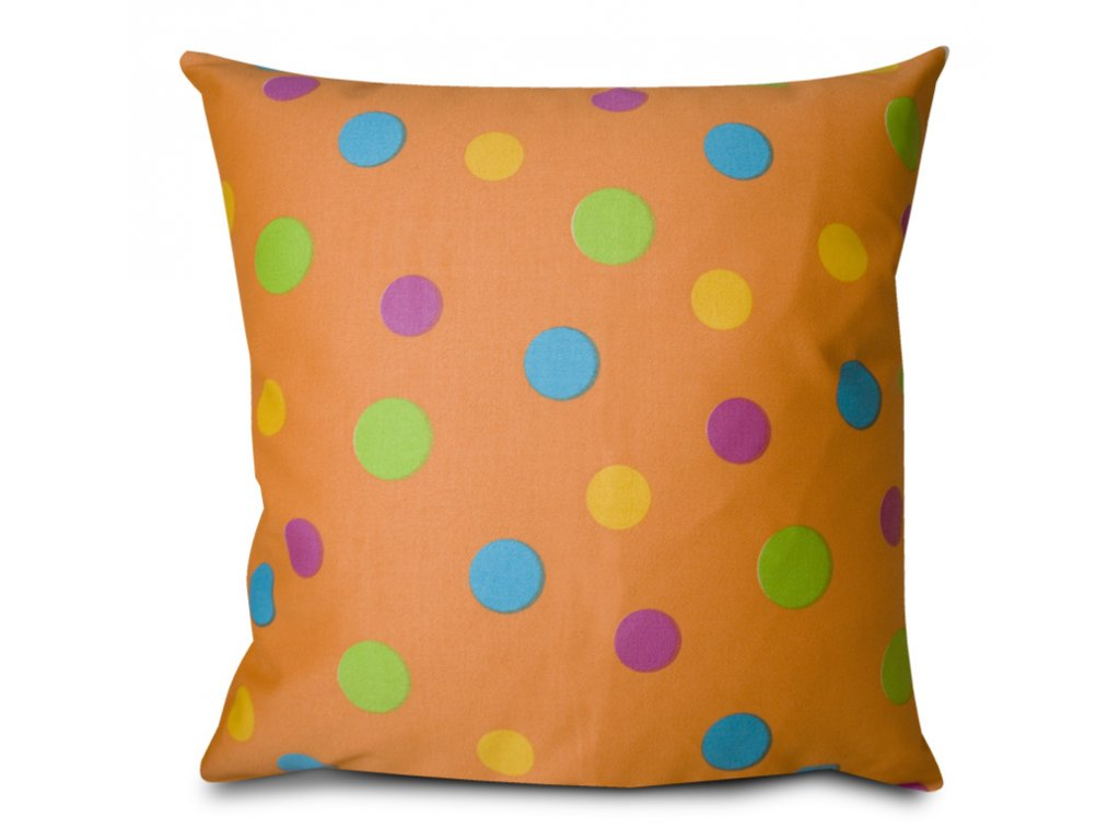 Polštář 50x50cm - potah s výplní - puntíky, oranžový