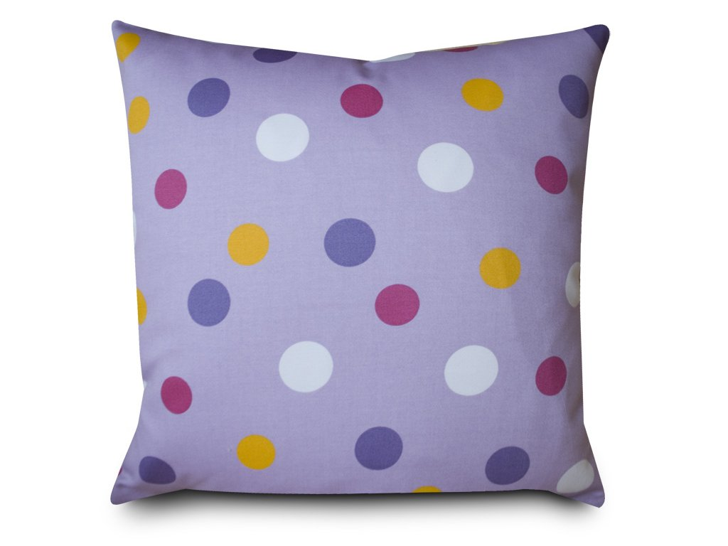 Povlak a polštář - puntíky, fialový