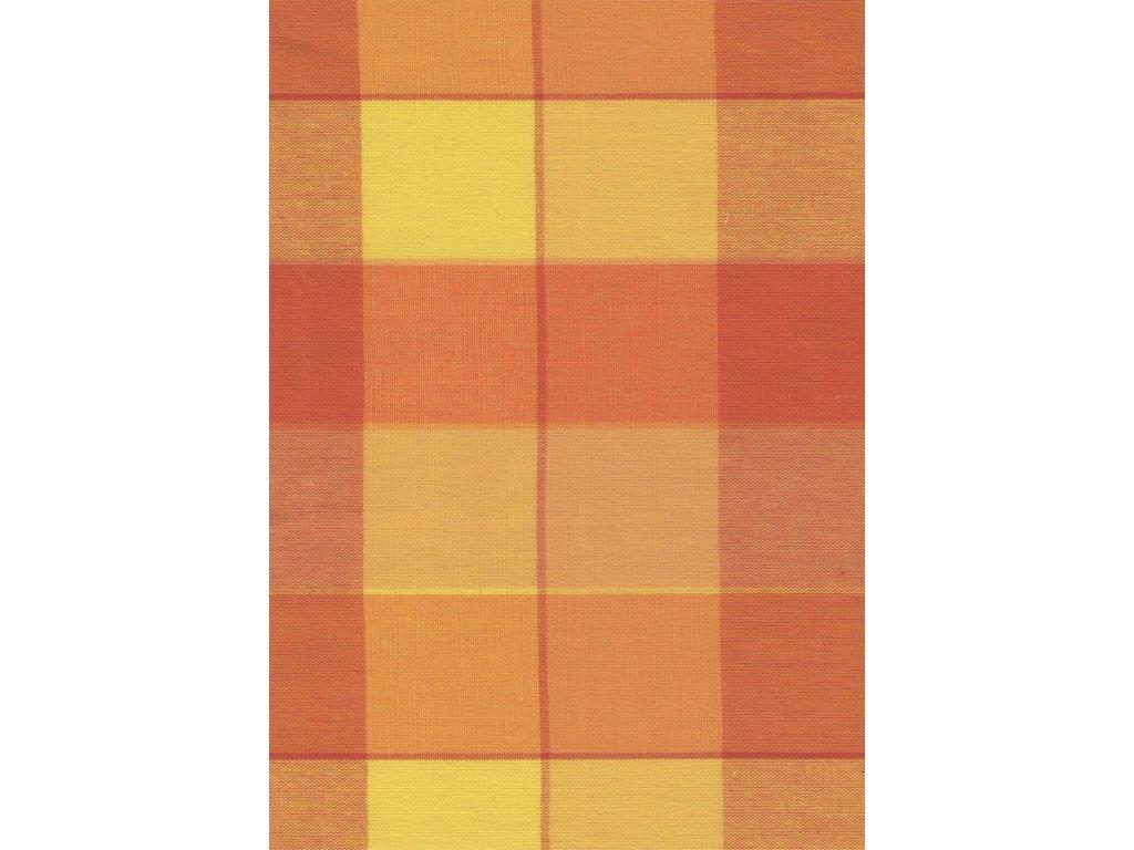 Pestře tkaná látka - žlutooranžové 5 cm kostičky 99995