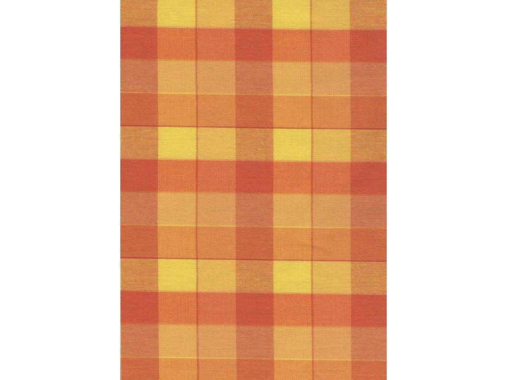Pestře tkaná látka - žlutooranžové 2,5 cm kostičky 99993