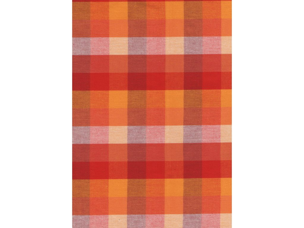 Pestře tkaná látka - červenooranžové 2 cm kostičky 03101