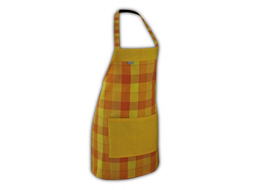 Kuchyňská zástěra oranžová/žlutá kostička 5 cm