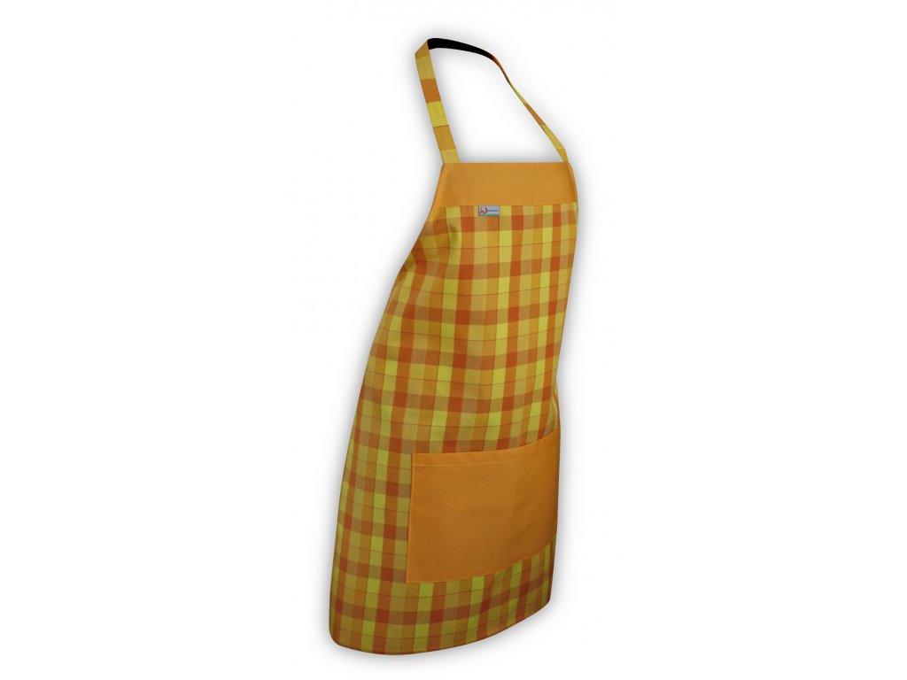 Kuchyňská zástěra oranžová/žlutá kostička