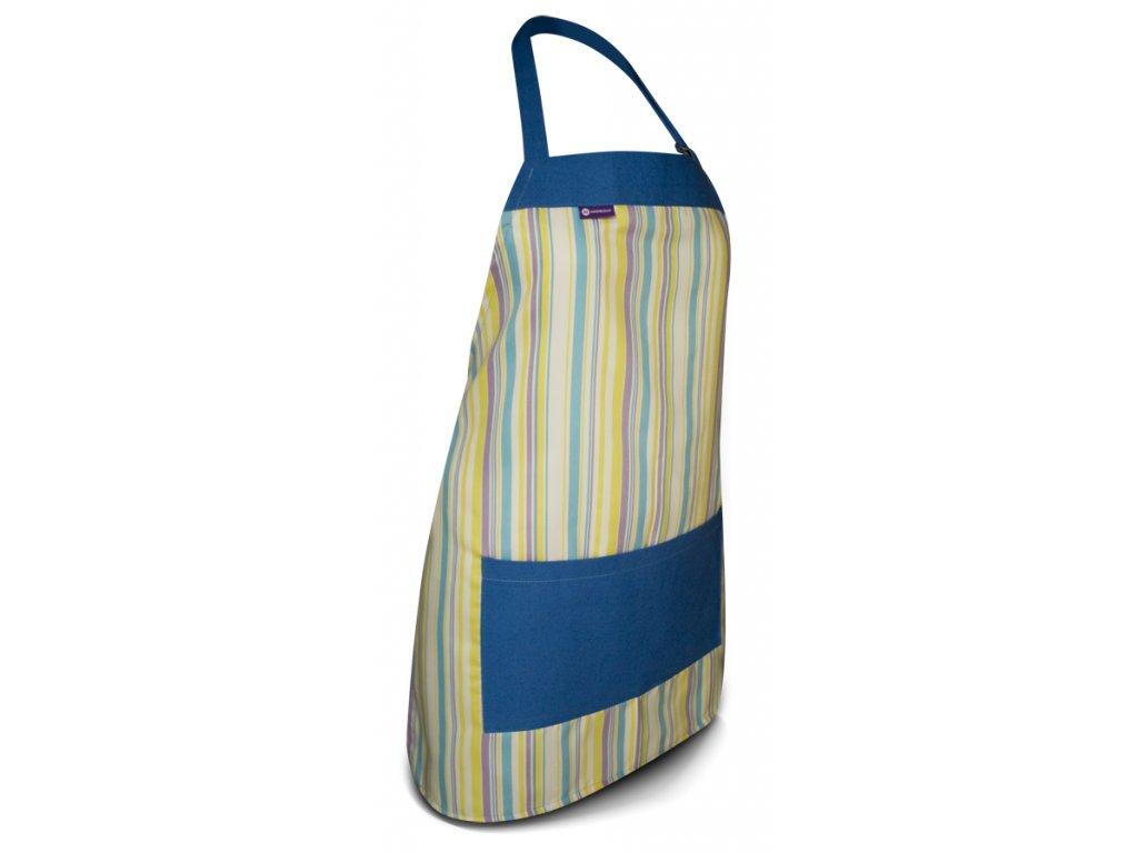 Kuchyňská zástěra barevný proužek, modrá