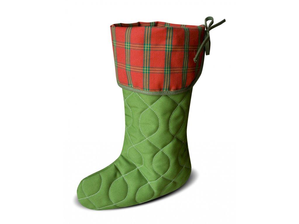 Vánoční nadílková bota zelená, červená kostička