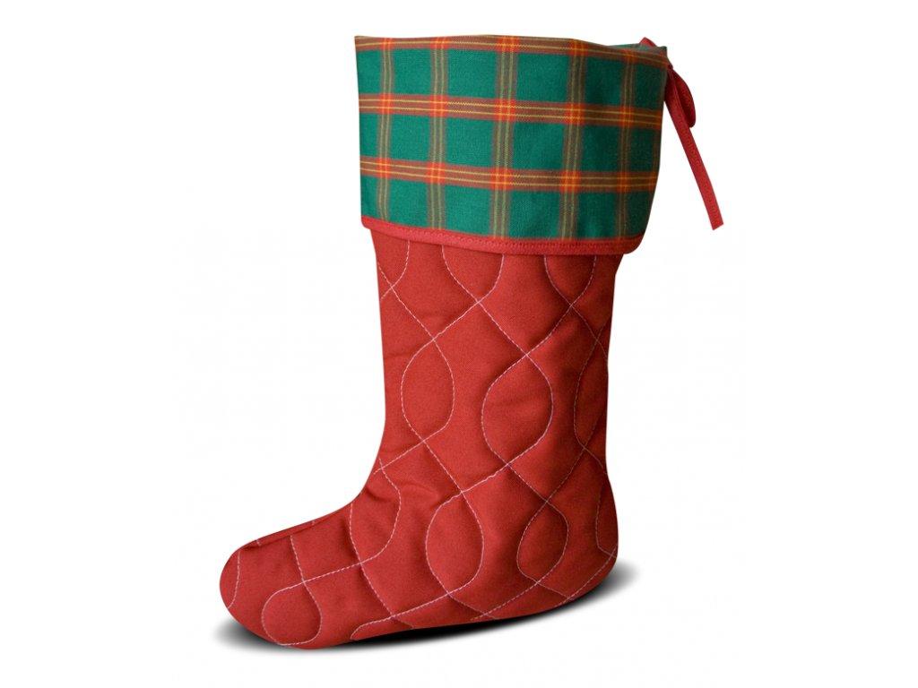 Vánoční nadílková bota červená, zelená kostička