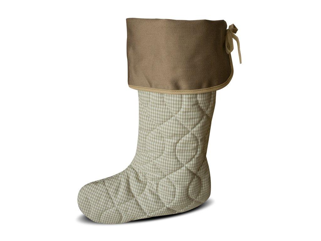 Vánoční nadílková bota režná kostička, hnědá