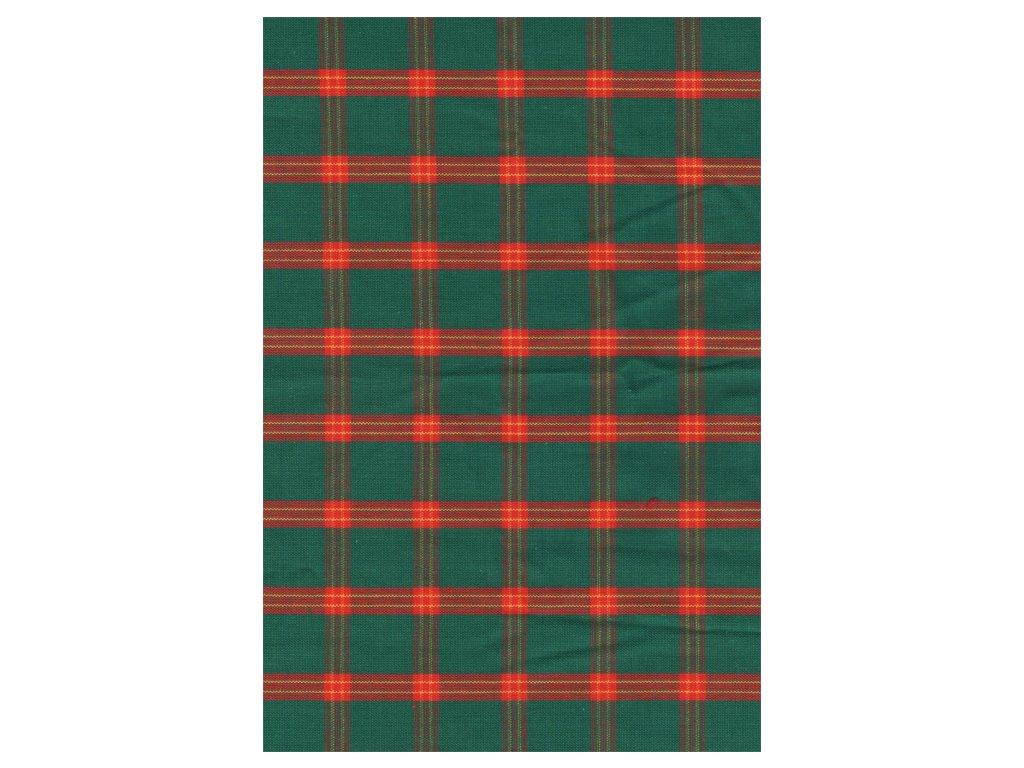 Pestře tkaná látka - Vánoční kostička zelená