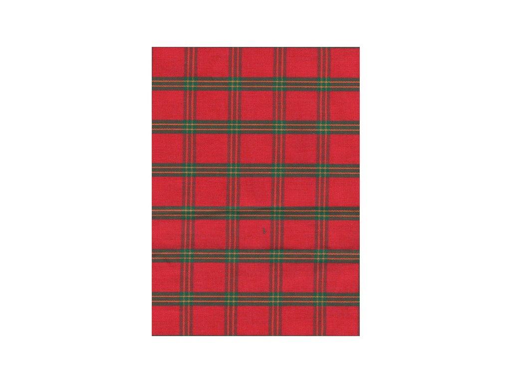 Pestře tkaná látka - Vánoční kostička červená