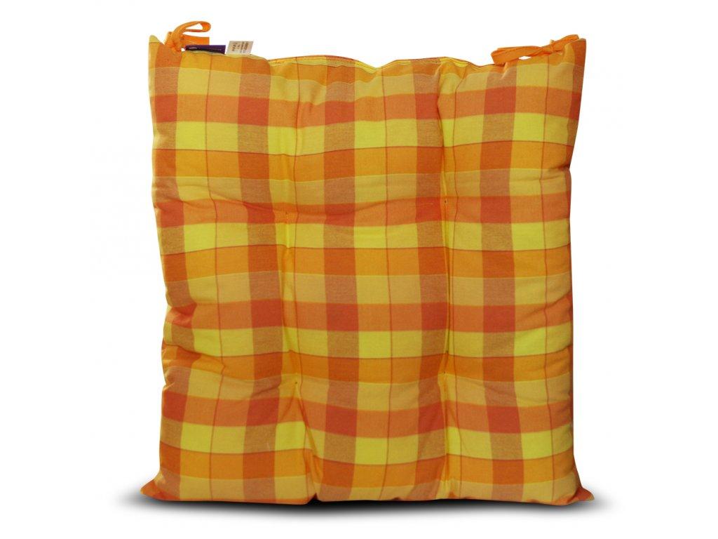 Sedák na židli s výplní A.WEINBERGER 40x40cm - oranžová/žlutá kostka