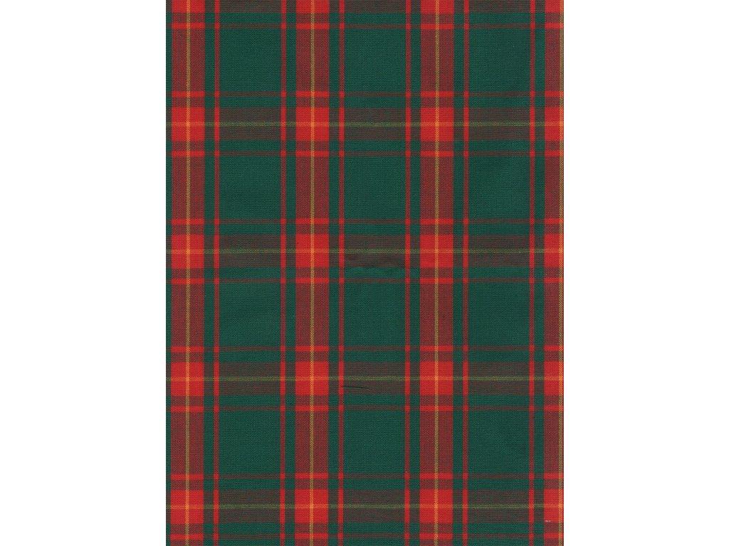 Pestře tkaná látka - Vánoční kostka zelená 2