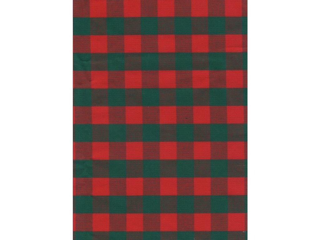 Ubrus  Vánoční červeno - zelená 2 cm kostka