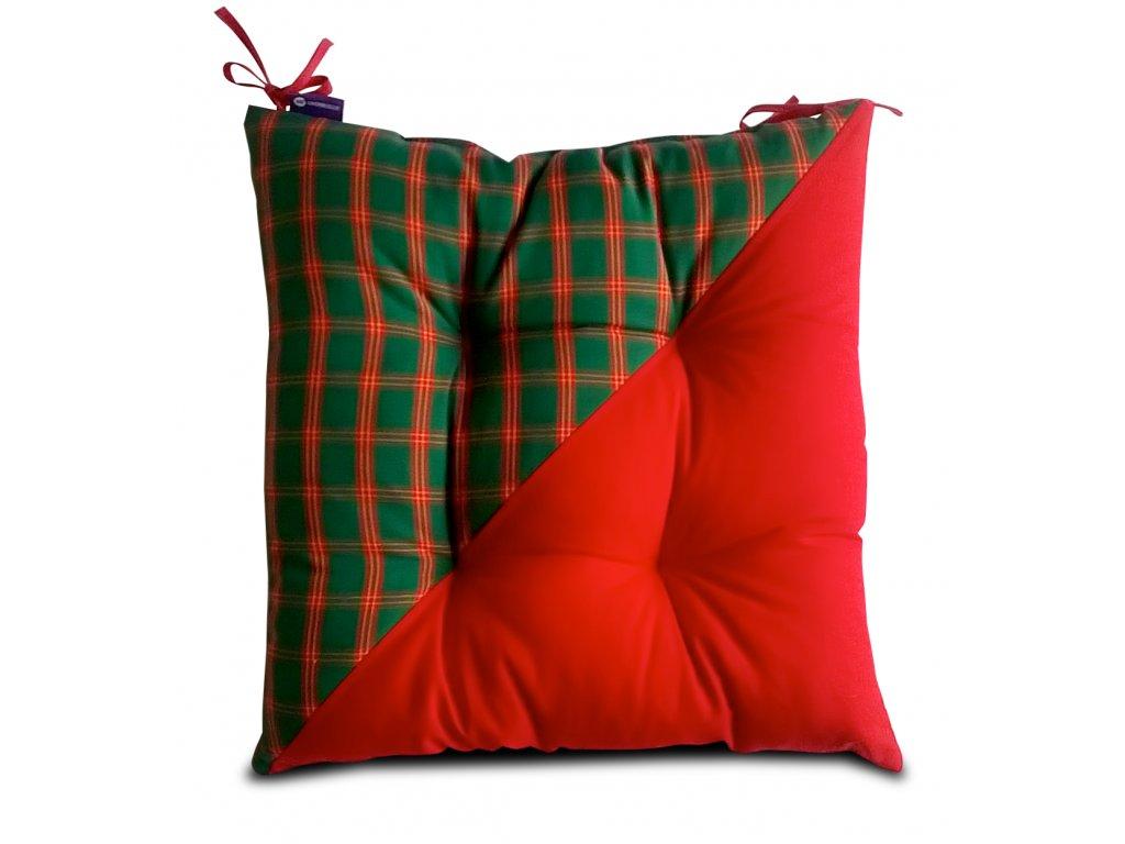 Sedák na židli s výplní A.WEINBERGER 40x40 červeno-zelená kostička