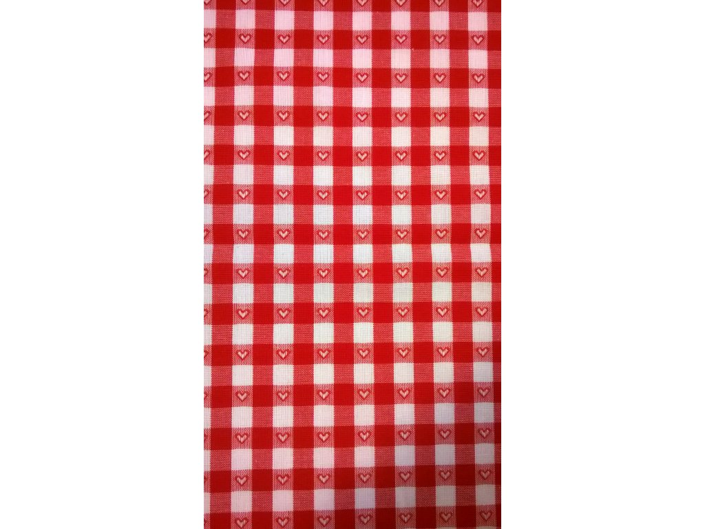 Napron červeno-bílá kostička 1cm,vytkávaný vzor srdíčka.70x70