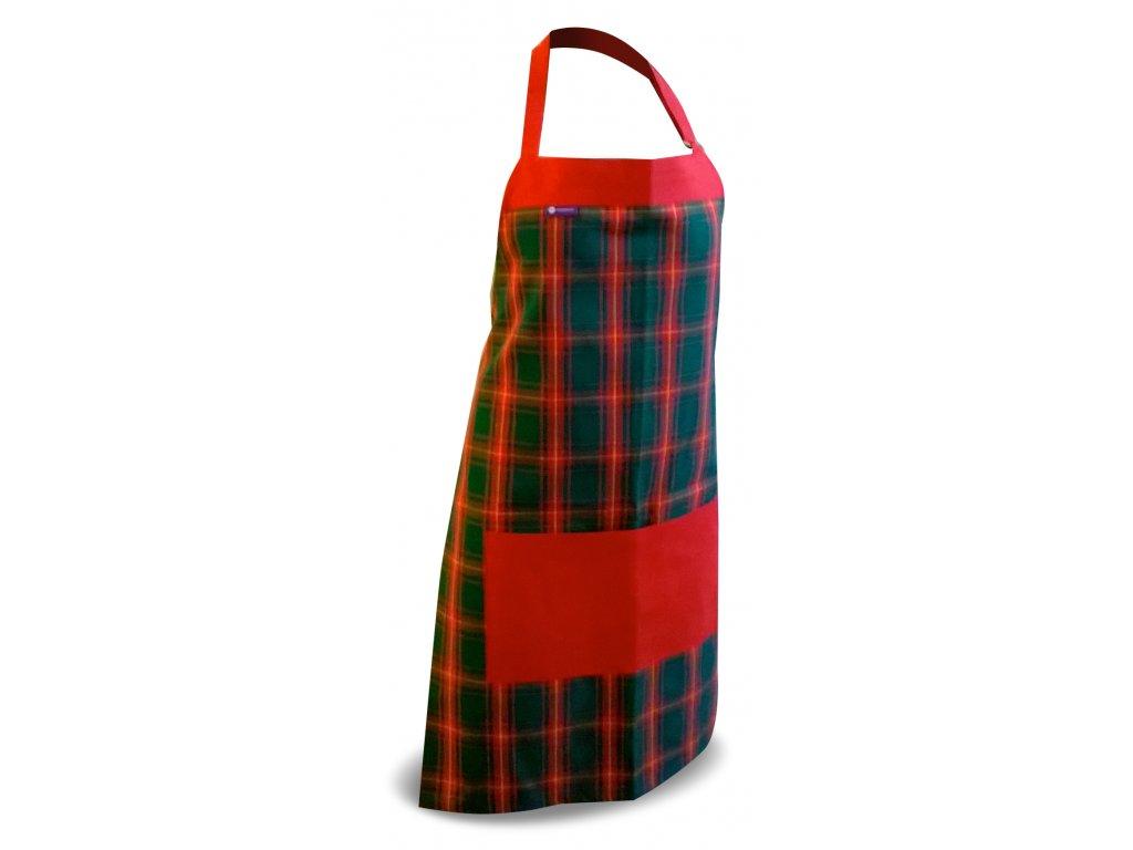 Kuchyňská zástěra -vánoční zeleno-červená kostička