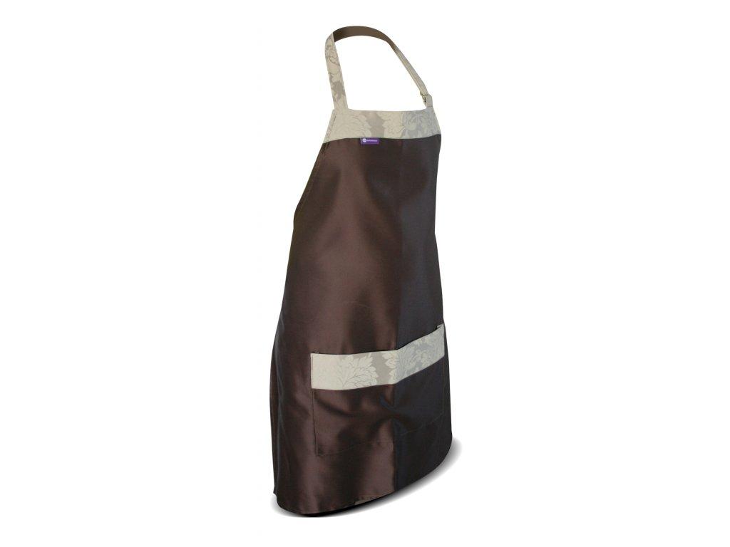 Kuchyňská zástěra - hnědá  s 1 velkou kapsou zdobená béžovou látkou.
