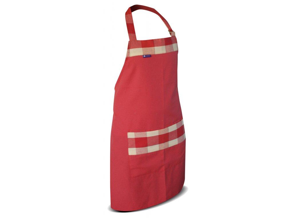 Kuchyňská  zástěra- starorůžová zdobená béžovo-růžovou kostkou