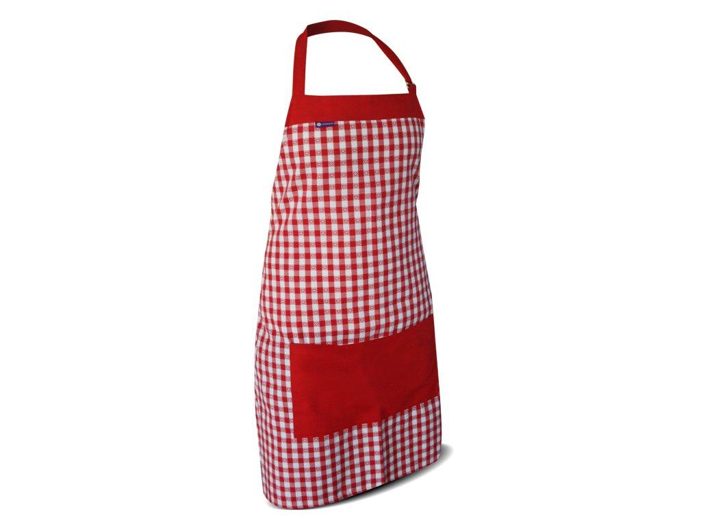 Kuchyňská  zástěra-červeno-bílá kostička 1cm vytkávaný vzor srdíčka