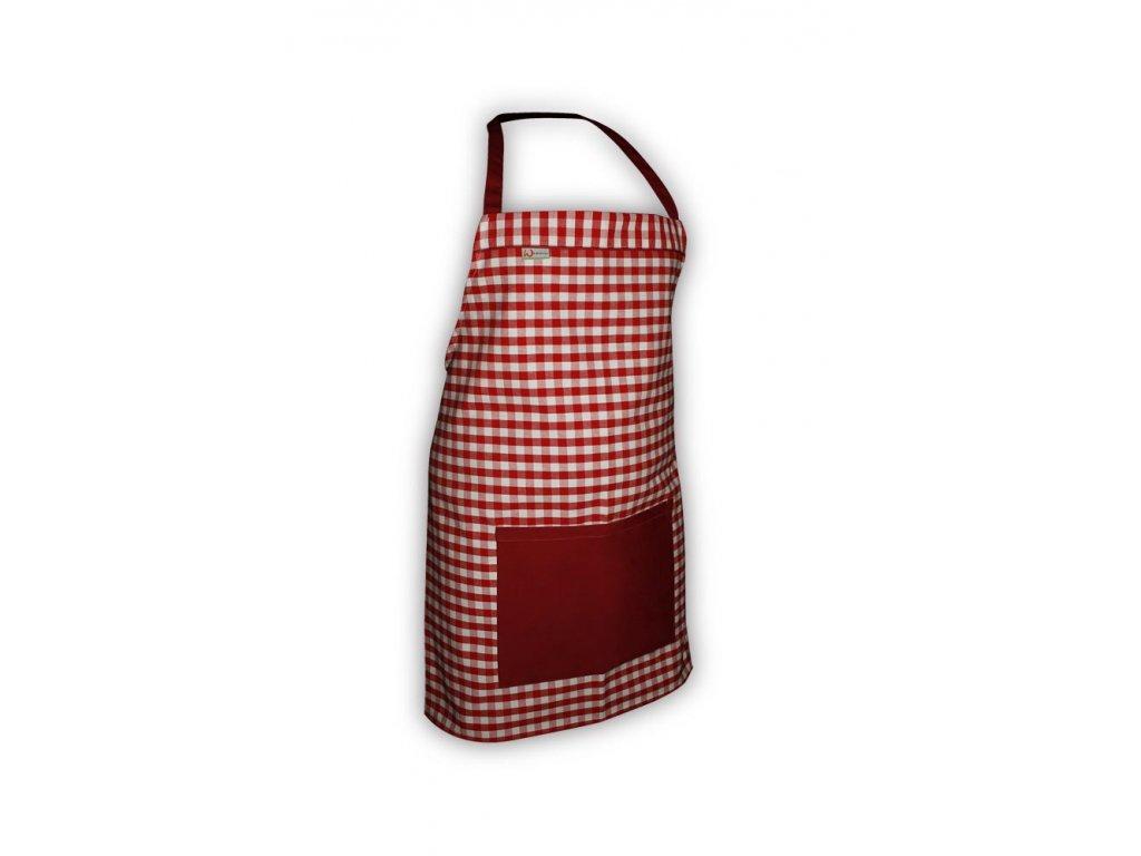 Kuchyňská zástěra červená kostička