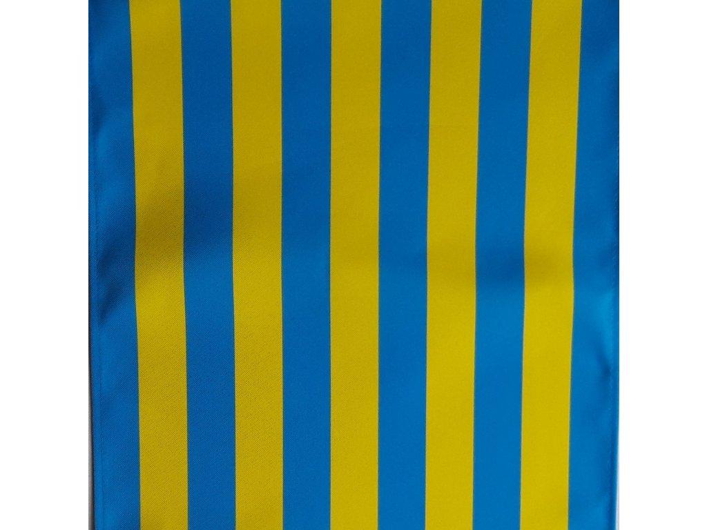 Lehátkovina pruh tyrkys modrá-žlutá šíře 45 cm