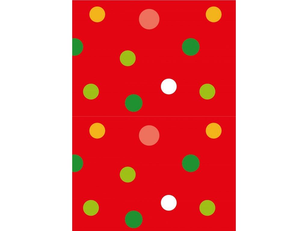 Ubrus barevné puntíky na červeném podkladu