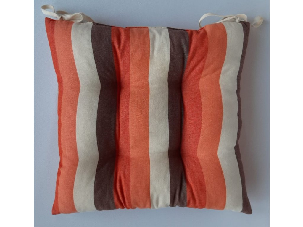 Sedák na židli s výplní,40x40 oranžovo-hnědý pruh