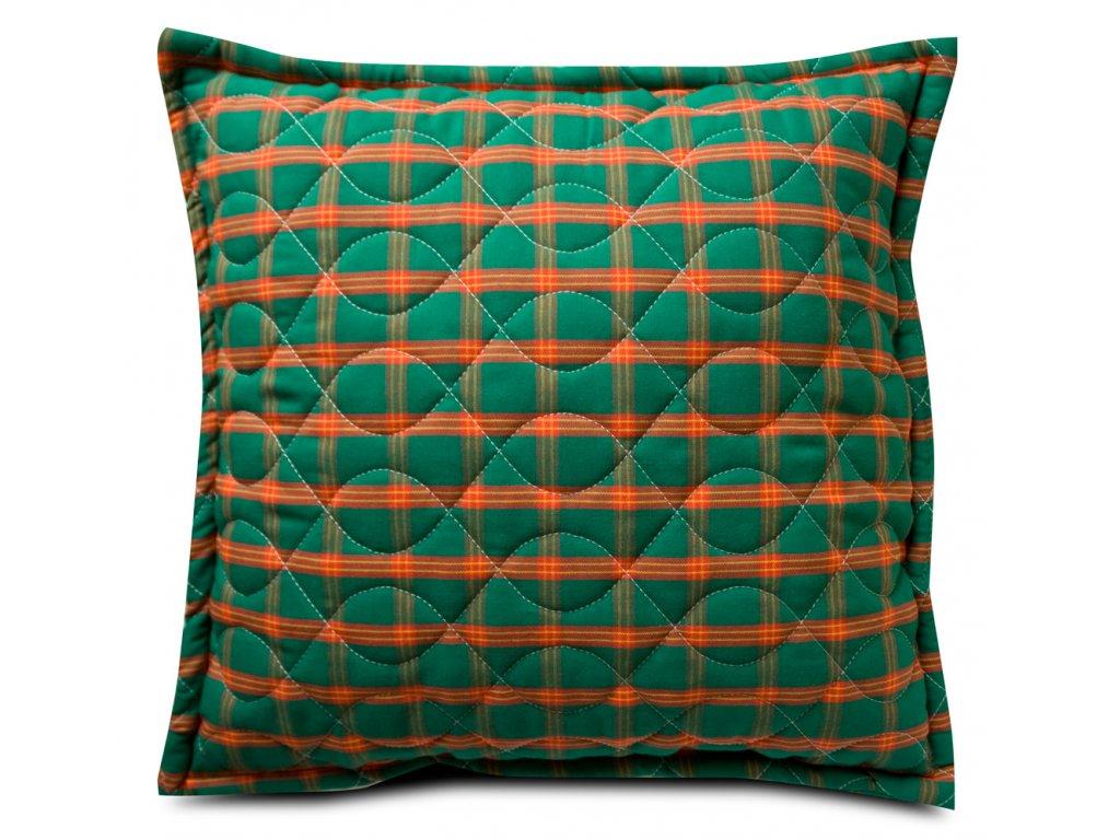 Vánoční povlak a polštář - prošívaný povlak na polštář zapínání na zip- zelený