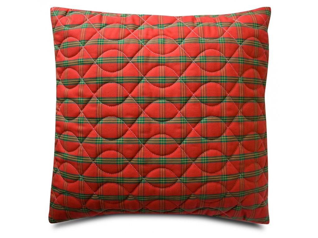 Vánoční polštář 40x40cm - prošívaný povlak na polštář zapínání na zip- červený