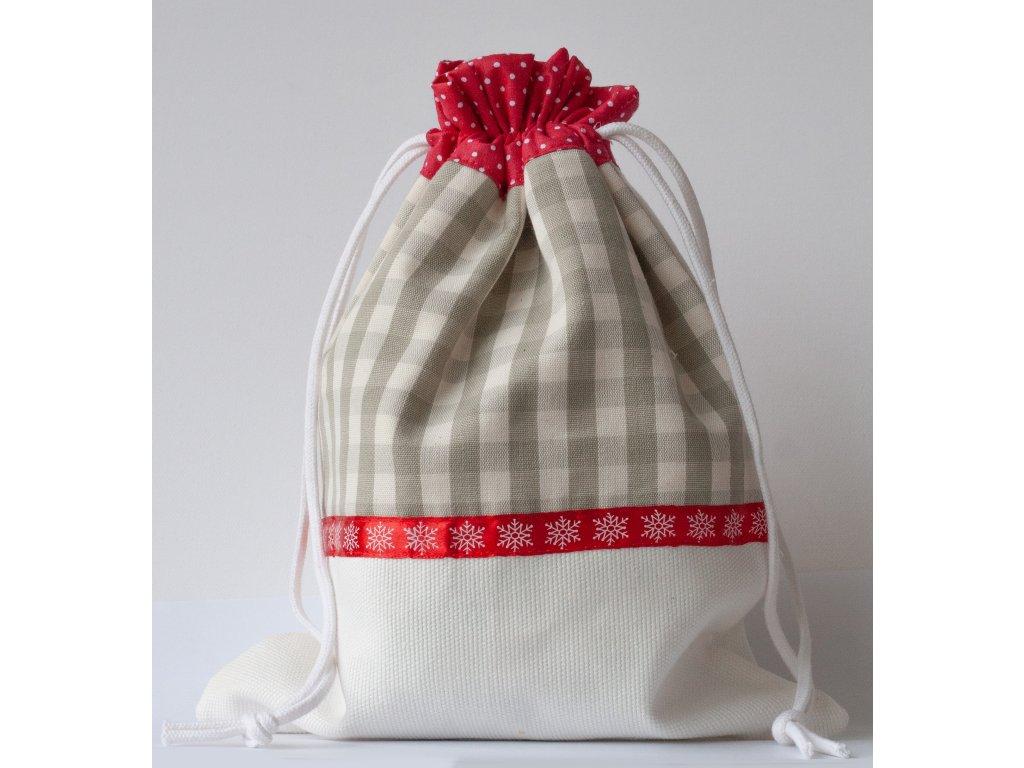 Vánoční nadílkový sáček - kostičkovaný