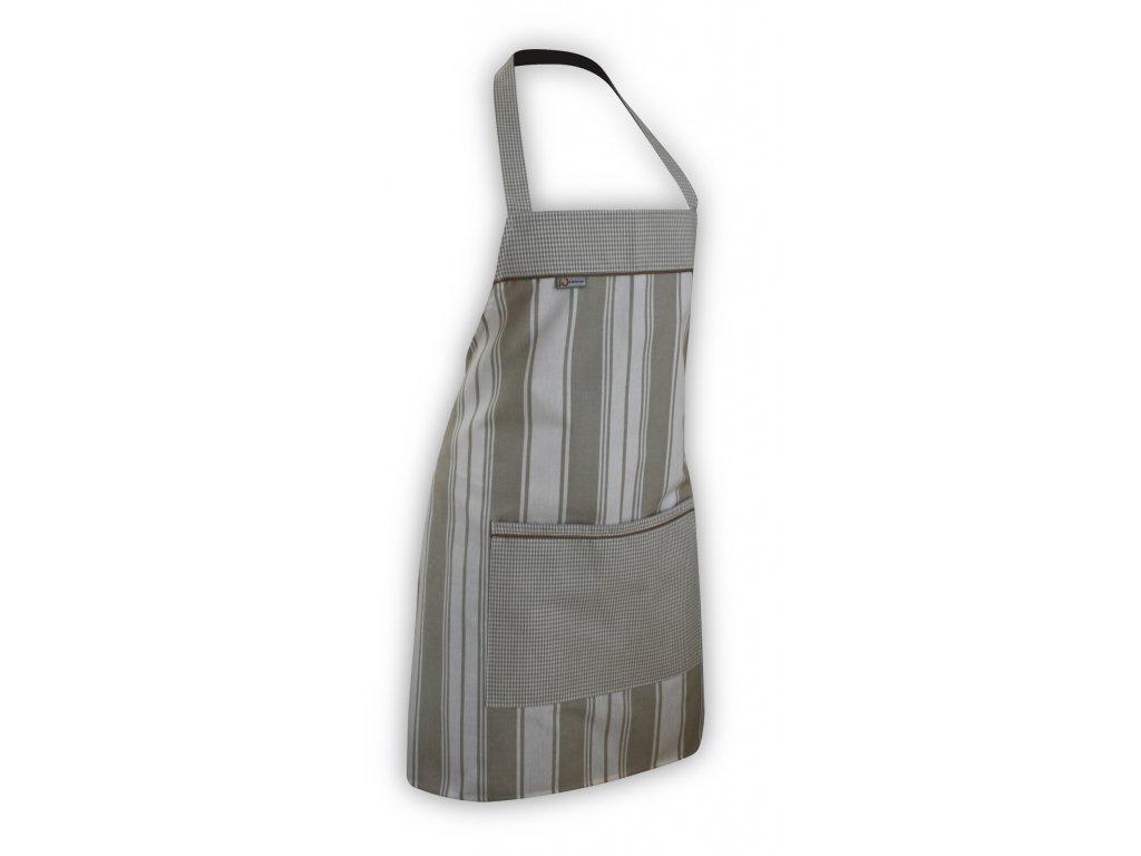 Kuchyňská zástěra béžovo - režný proužek