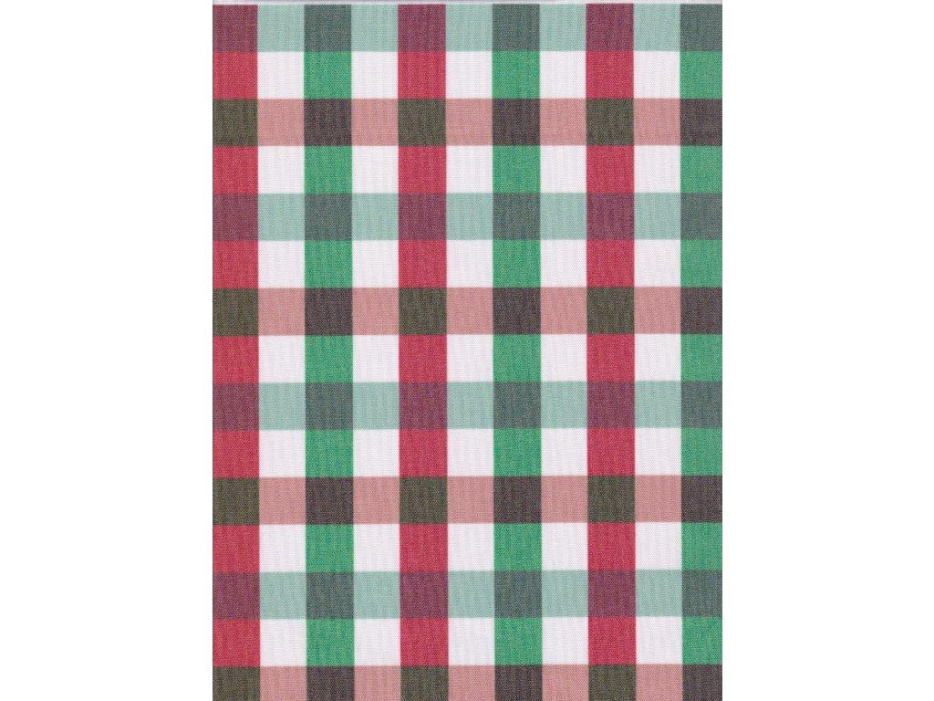 Ubrus Vánoční vínová- zelená -bílá kostička 2x2 cm