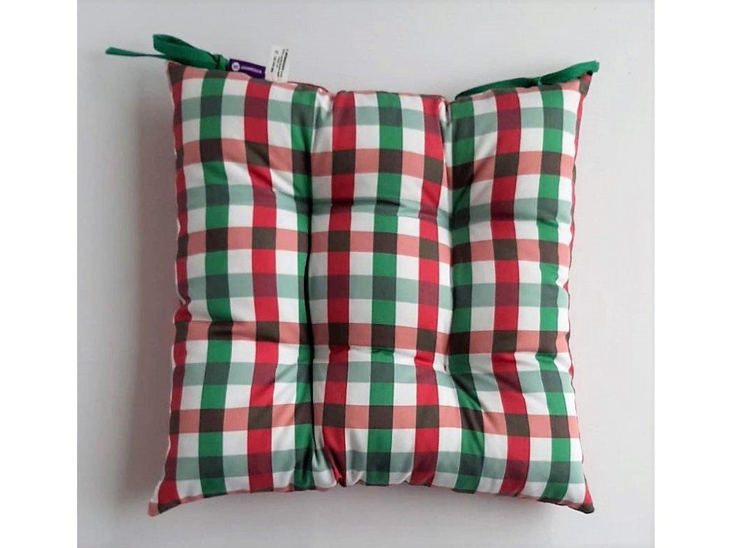 Sedák na židli 40 x 40 cm, vánoční zeleno - vínová kostička 2 x 2 cm,  na bílém podkladu