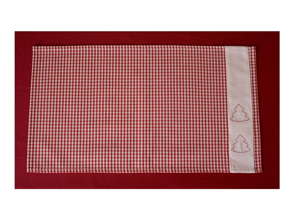 Vánoční prostírka s výšivkou 40x30 cm - červená kostička