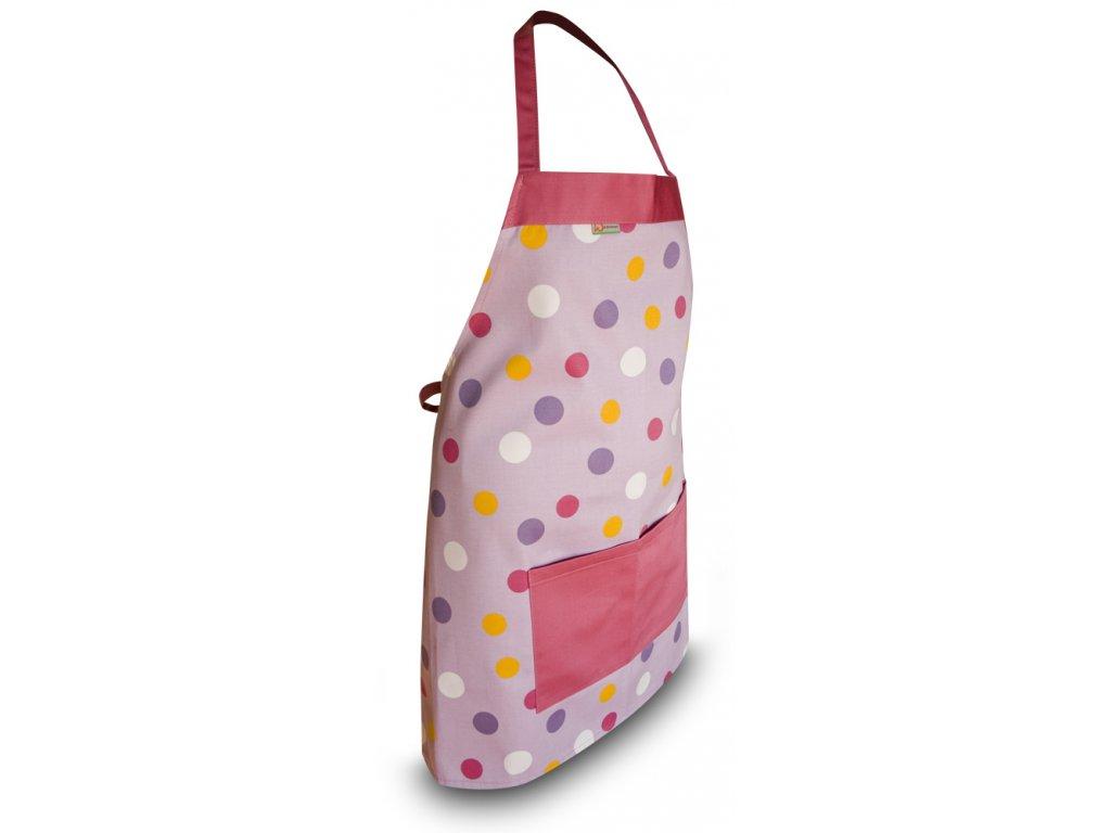 Kuchyňská zástěra růžová, barevné puntíky