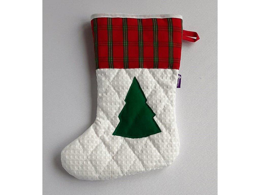 Vánoční nadílková bota bílá -motiv stromeček