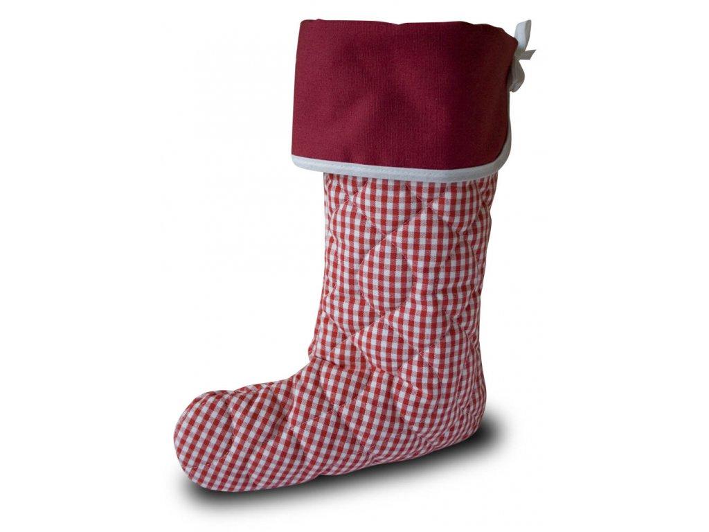 Vánoční nadílková bota červená kostička, červená