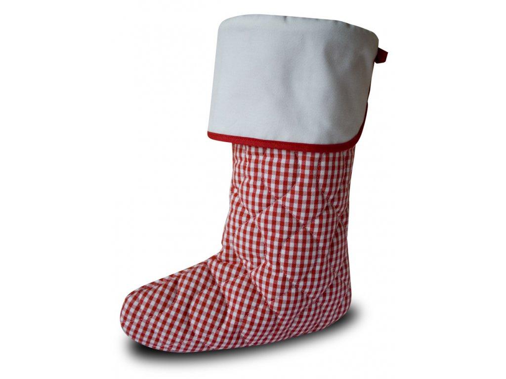 Vánoční nadílková bota červená kostička, bílá