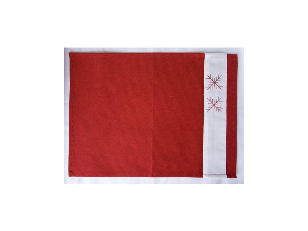 Vánoční prostírka s výšivkou 40x30 cm - červená uni, bílý proužek