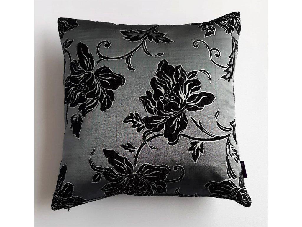 Povlak a polštář-černobílé květy na šedém podkladu