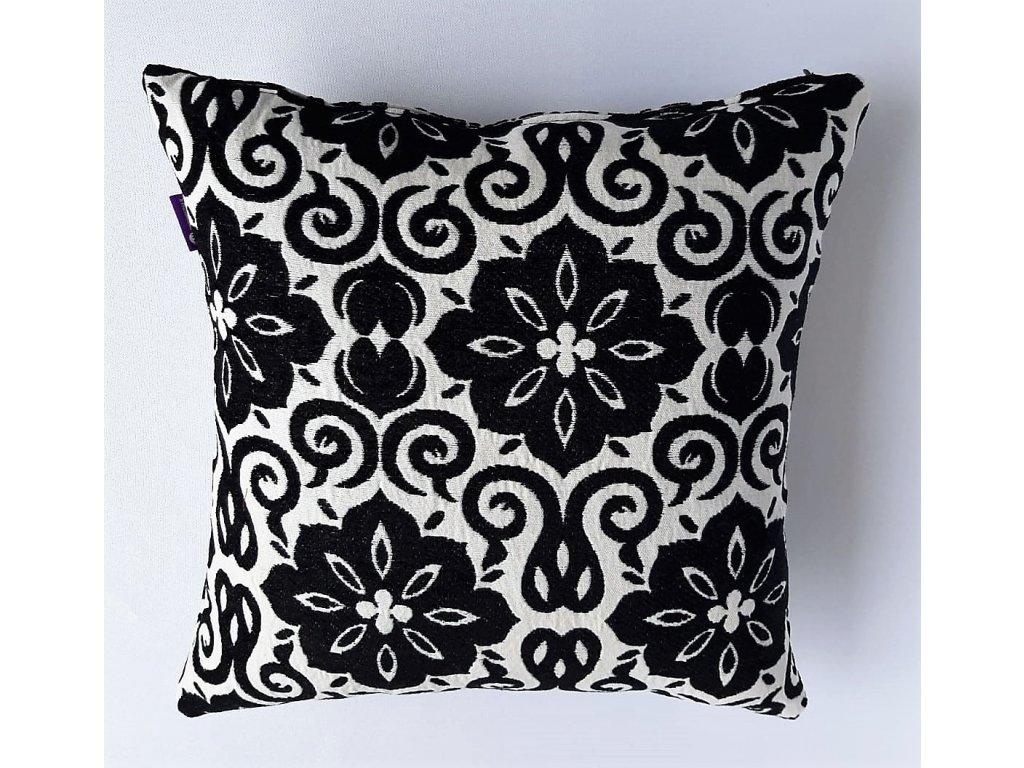 polštář a povlak bílý - černý  květy