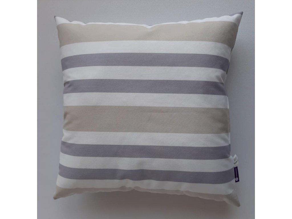 Polštář a povlak vzor béžový,bílý a modrý pruh