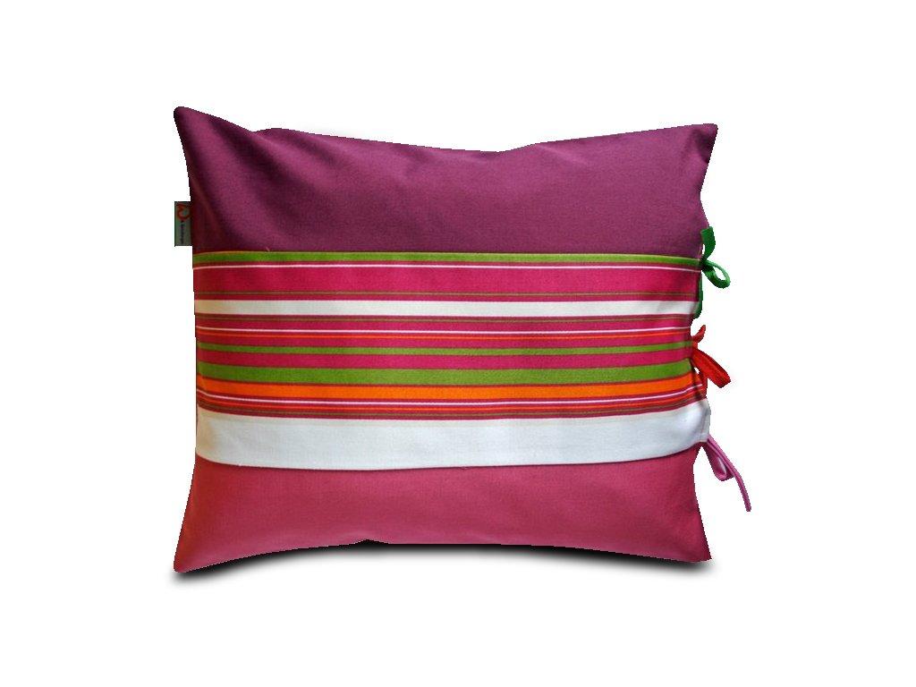 Polštář s potahem na zavazování fialový/růžový, 40x30 cm