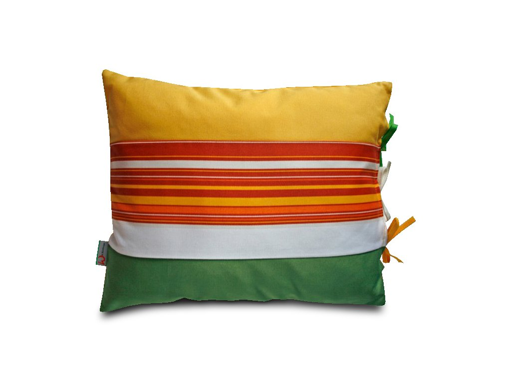 Polštář s potahem na zavazování zelený/žlutý, 40x30 cm