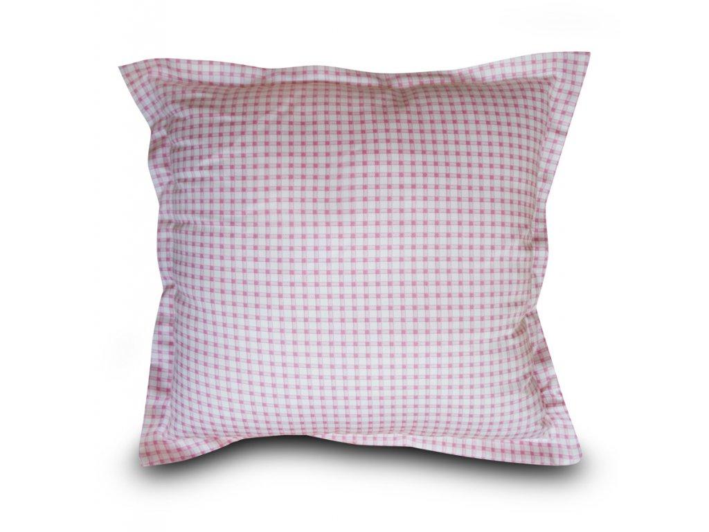 Polštář s výplní a potahem 40x40 cm - růžová kostička