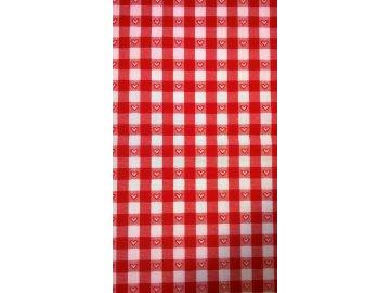 Prostírání červeno-bílá kostička 1cm,vytkávaný vzor srdíčka.40x30