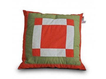 Patchworkový polštář s výplní 40x40 cm - oranžová, zelená