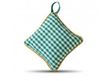 Jehelníček zelená kostička žlutý lem