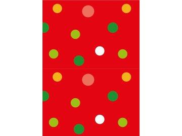 Vánoční ubrus barevné puntíky na červeném podkladu