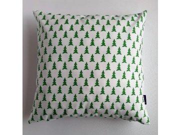 Polštář a povlak bílý,vánoční motiv-zelené stromečky